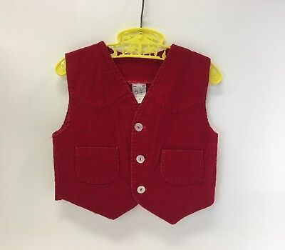 Vintage Red Corduroy Vest | Size 3T | Western | Country| Button Up | Sleeveless