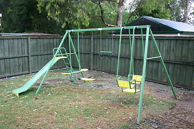 Hills Playtime Swing Set - 4 Bay With Slide - Green & Yellow - Used