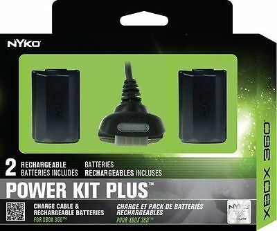 Nyko Xbox 360 Power Kit 2 Rechargeable Battery Pack Controller Play Charge Cable
