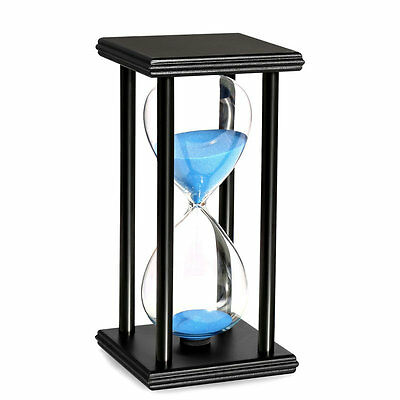 10 20 30 60 Munites Wooden Black Standglass Hourglass Sand Timer Home Decor Gift