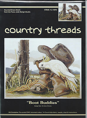 """ BOOT BUDDIES ""  Cross Stitch Kit,  Country  Threads"