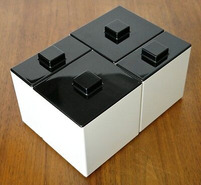 Set of 4 Mid-Century Mod VOLLTEX Black & White Melmac Plastic Kitchen Canisters