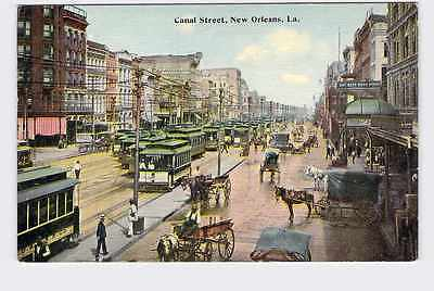 Postcard Louisiana Canal Street New Orleans Trolleys And Buggies