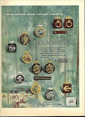1956 Swank Linkwoods Cuff Links Tie Clips 13 images Print AD