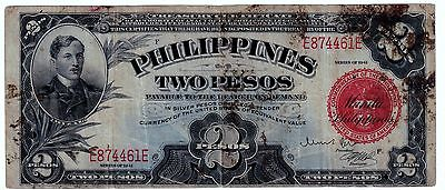 1941 (TWO PESO ) (SILVER CERTIFICATE) RED (PHILIPPINES- US) --Wartime--- nice---