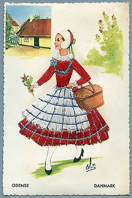 #48 1964 Embroidered Denmark Postcard, Young Girl, Vintage Postcard
