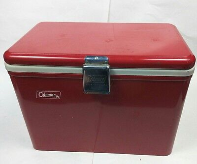 Vintage - Coleman - Red Metal Cooler - Patents Pending
