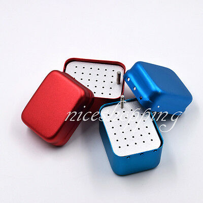 30 Holes Dental Burs Holder Stand Autoclave Disinfection Box for Endo Red Blue
