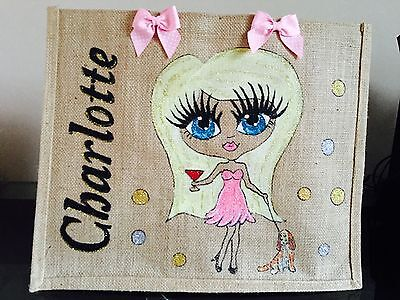 Personalised Jute glam Bag any design any name all hand painted gifts birthdays