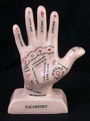 Crackle Style Porcelain Palmistry Hand Reading Palm Reader