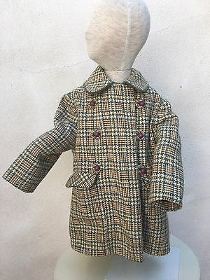 Vintage Mid Century Girls Wool Coat Lined Tara Girl Craft Sz Small Tweed