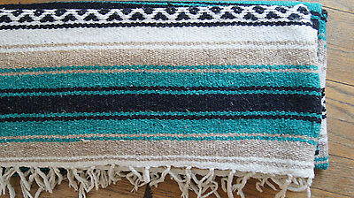 """MEXICAN BLANKET AUTHENTIC COTTON HAND MADE THROW BLUE COLORS 72""""x48"""""""