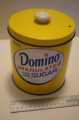 Vintage metal  DOMINO GRANULATED PURE CANE SUGAR CANISTER with LID J L Clark tin