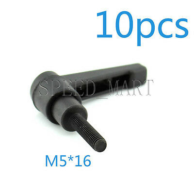 10 pcs Machinery M5 x 16mm Threaded Knob Adjustable Handle Clamping Lever