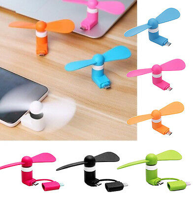 Mini Portable Fan Cooling For iPhone USB Gadget Android Phone 2in1 Accessories
