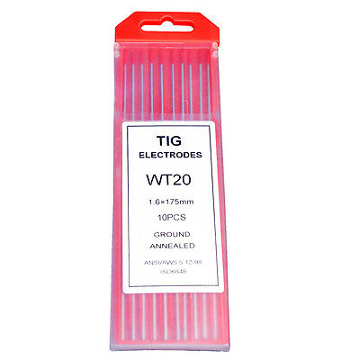 """10-pk TIG Welding Tungsten Electrode 2% Thoriated (Red) 3/32""""-1/8"""" 
