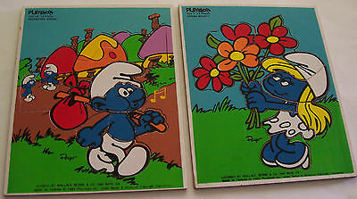 2 - 1982  Playschool Wood Tray Puzzles- Smurfs- Spring Beauty, Adventure Bound