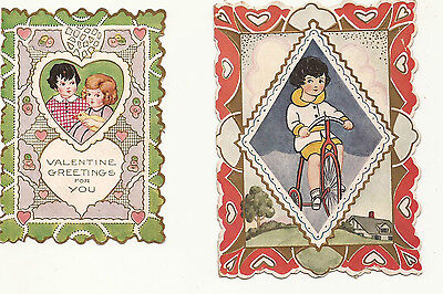 Lot Of 2 Vintage 1930's Small Valentine Greeting Cards