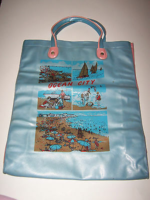 Vintage 1960's Blue & Pink Vinyl Tote Bag - Ocean City, New Jersey- Beach Scenes