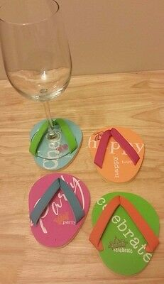 Drinkwear Flip Flop Coasters Wine Glass Foot Wear Set 4