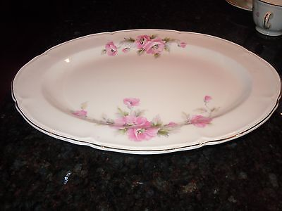 """Edwin M. Knowles China Co 13"""" Serving Platter Semi Vitreous Pink  Roses USA"""