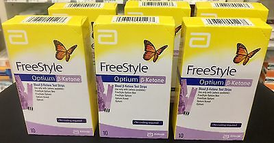 Abbott FreeStyle Optium Blood ß-Ketone Test Strips x 6 boxes = 60 strips