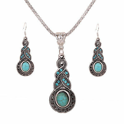 Silver Plated Chain Turquoise Crystal Earrings Necklace Set Women Jewelry USA