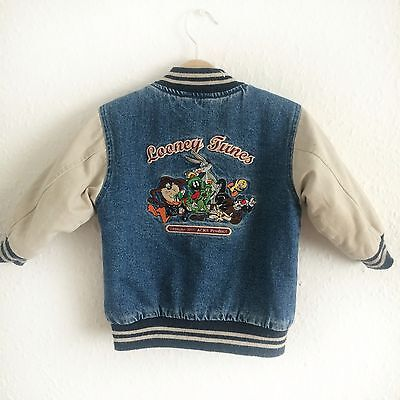 Vintage Kids 90s Looney Tunes Grunge Baseball Cartoon Denim Unisex Jacket 2 Y