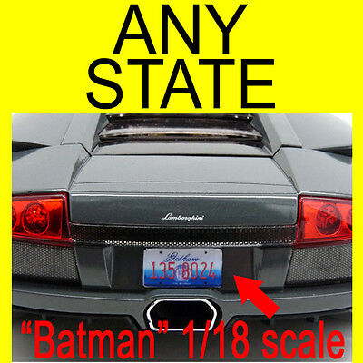 Custom All Brands RC & model car, State License Plates -1:5 to 1:42 scale