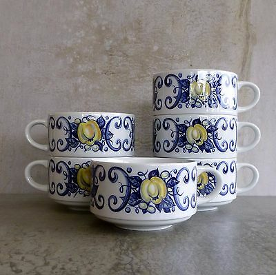 6 Villeroy Boch Cadiz Cups 250mls Porcelain made in Luxembourg Blue Stacking