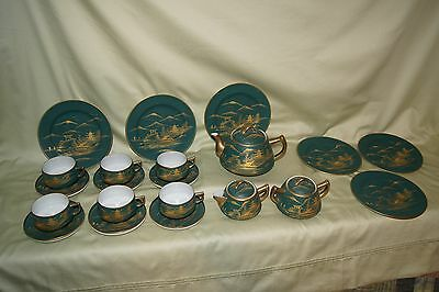 Japanese Tea Set  Beautiful 21 Piece Japanese Satsuma Bizan Tea Set With Mark