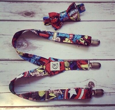 Children's Marvel braces and bow tie. Handmade (Baby, Toddler And Boys)