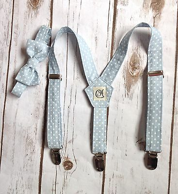 Children's Blue Polka Dot braces and bow tie. Handmade (Baby, Toddler And Boys)