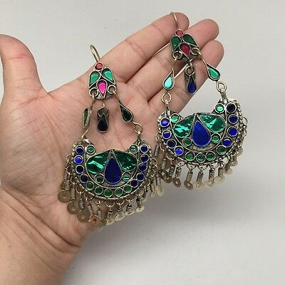 Afghan Kuchi Tribal Boho Chained Jingle Dangle Glass Multi-Color Earrings,KE127