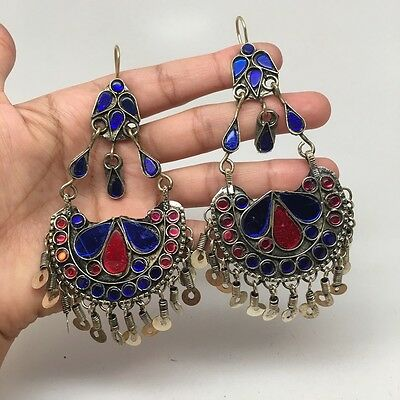 Afghan Kuchi Tribal Boho Chained Jingle Dangle Glass Multi-Color Earrings,KE99