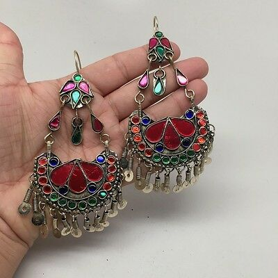 Afghan Kuchi Tribal Boho Chained Jingle Dangle Glass Multi-Color Earrings,KE50