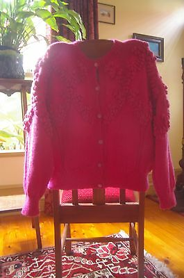 Vintage Style Woollen Hand Knitted Pompom Cardigan Knit. Lovely Condition.