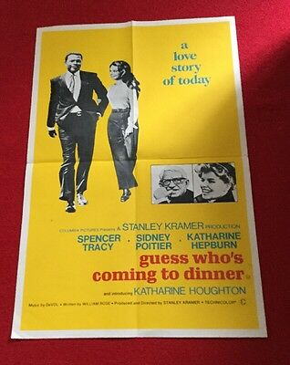 "1967 Original Uk Film Poster ""guess Who's Coming To Dinner""sidney Poitier,spence"