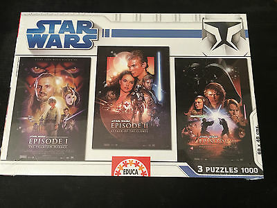 Star Wars  Trilogy 3 x 1000 pcs Jigsaw Puzzle (Educa), PRECINTADO