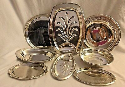 Lot of 8 Silverplate Various Vintage Platters/Plates & Bowls