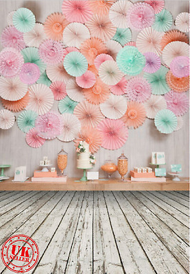 PAPER FAN BIRTHDAY PARTY BACKDROP BACKGROUND VINYL PHOTO PROP 5X7FT 150x220CM