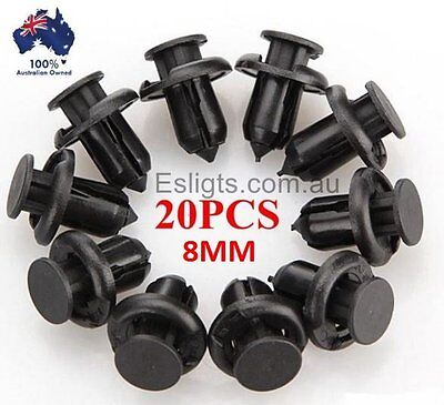 20X Car Plastic 8Mm Clips Rivet Push Fit Door Boot Trim Panels Bumper Fastener