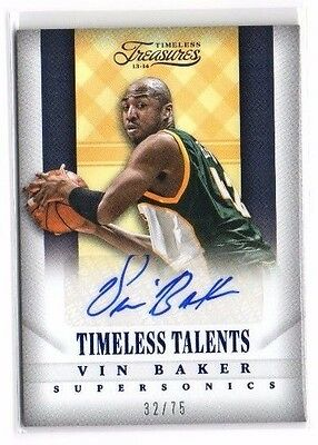 Vin Baker 2013-14 Timeless Treasures, Timeless Talents, (Autograph), Silver, /75