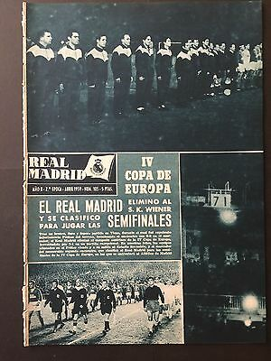 1959 European Cup.Quarter-final. Wiener Sport Club-Real Madrid.official magazine