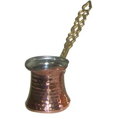 Copper Turkish Coffee Pot, Brass Holder / Wooden Holder, Cezve, Ibrik XSmall