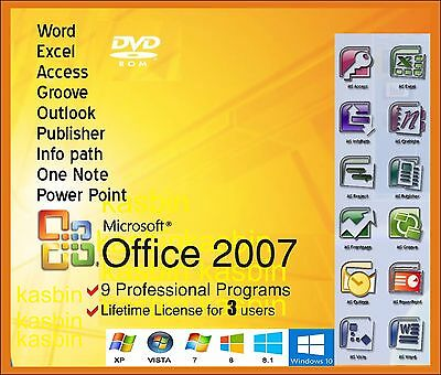 Microsoft Office 2007, Word/Excel/Outlook/Pub/Access etc.. 3PC DVD Full version