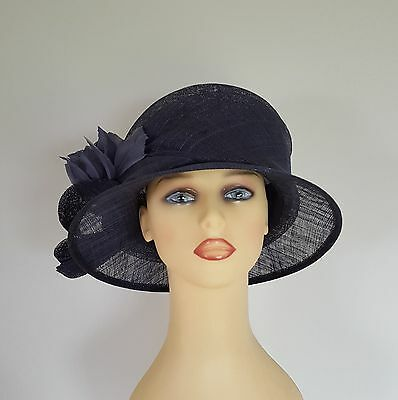 Ladies Formal Wedding Hat Races Mother Bride Navy Blue Angular Feather Viyella