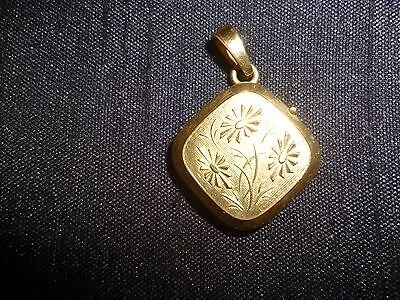 Pretty vintage rolled gold locket, photo charm, embossed flower design