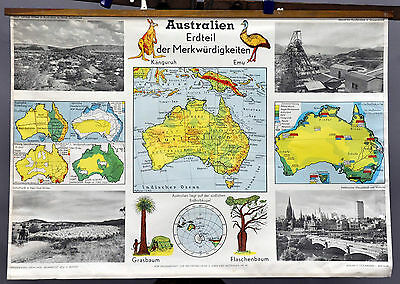 vintage map picture poster wall chart Australia continent of curiosities r0267