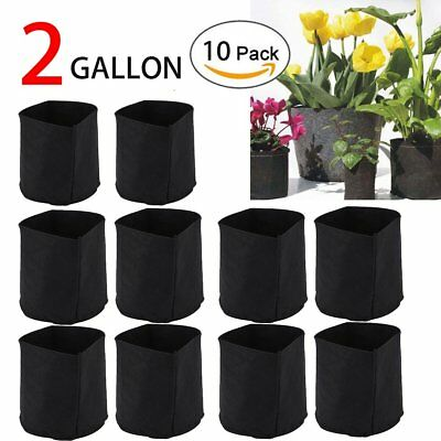 10 Packs 2 Gallon Black Fabric Pot Grow Bag Root Planter No Handles - US STOCK